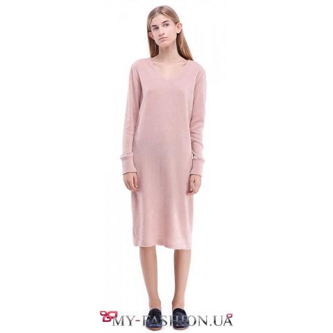 Платье свободного силуэта нежно-персикового цвета