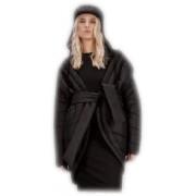 Дизайнерское двубортное пальто овального силуэта