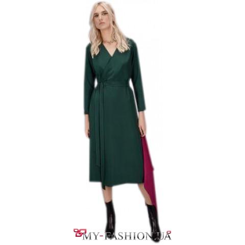 Красивое платье миди длины зеленого цвета