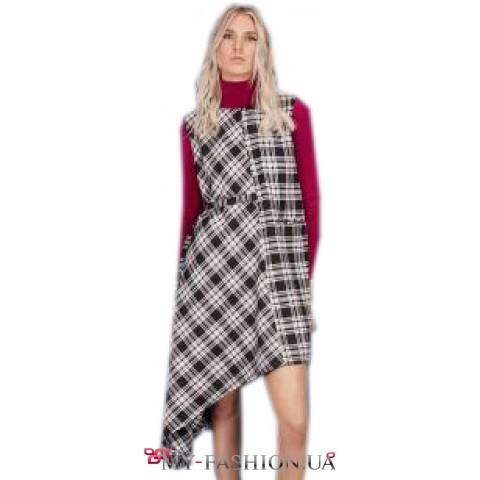 Дизайнерское платье на подкладке с асимметрией