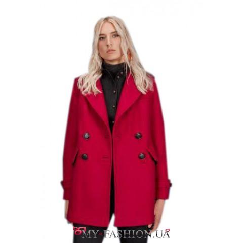 Шерстяное пальто цвета фуксии