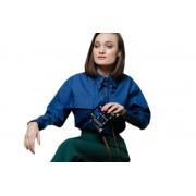 Джинсовая объемная женская рубашка