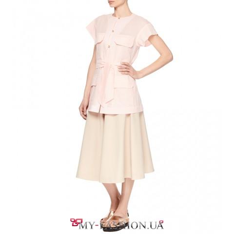 Модный женский жилет, с накладными карманами