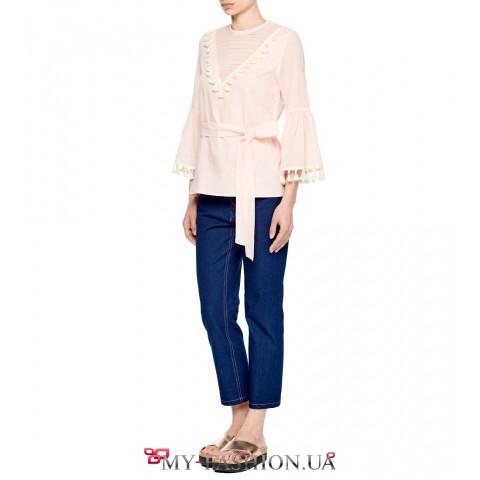 Розовая стильная блуза с оригинальными рукавами