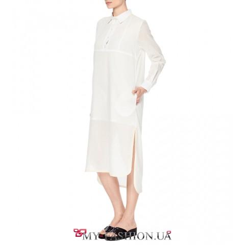 Белое платье-рубашка свободного силуэта