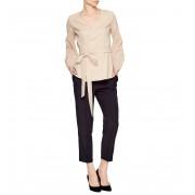 Дизайнерская бежевая блуза на запахе под пояс