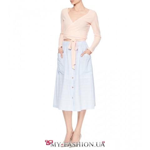 Оригинальная розовая блузка укороченной модели
