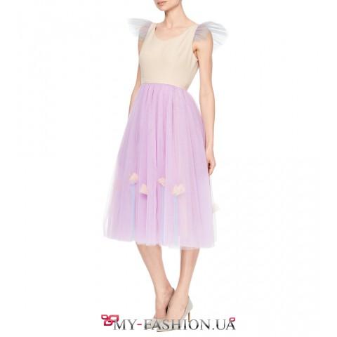 Коктейльное платье сиреневого цвета