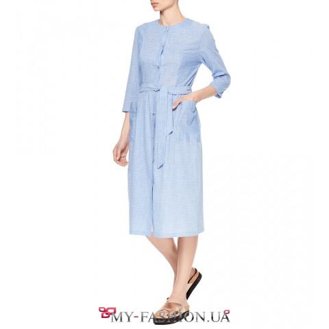 Платье - рубашка средней длины с пуговицами на планке