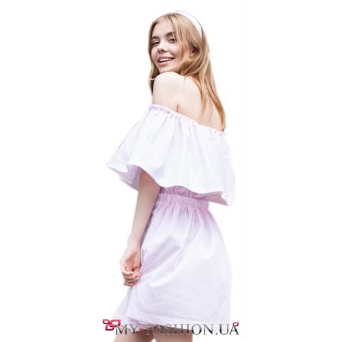 Летнее короткое платье с рюшем