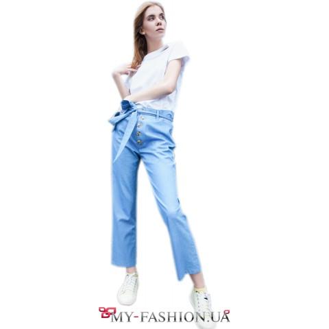 Стильные летние джинсы на высокой талии