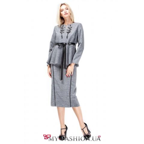 Дизайнерская юбка-карандаш с полосками из кожи