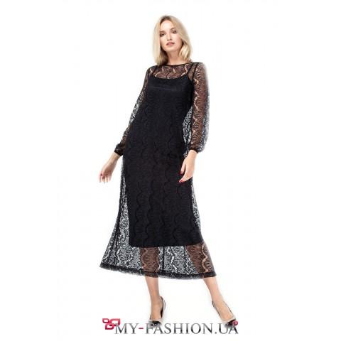 Черное платье-сарафан с нежным кружевом