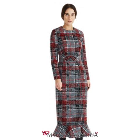 Клетчатое платье из натуральной ткани