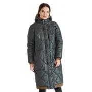 Зеленое зимнее пальто с капюшоном