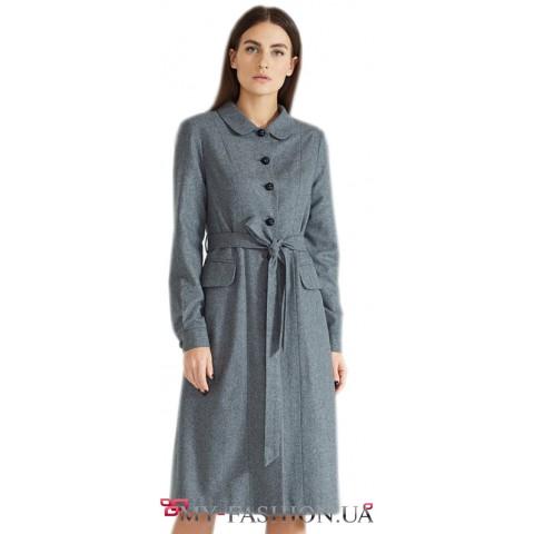 Платье- халат с накладными карманами
