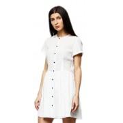 Короткое белое платье на планке с 9 пуговицами