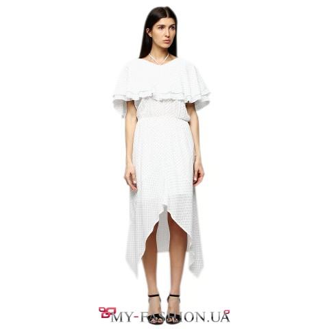 Белое летнее платье средней длины