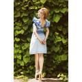 Голубое платье с пышными рукавами-воланами