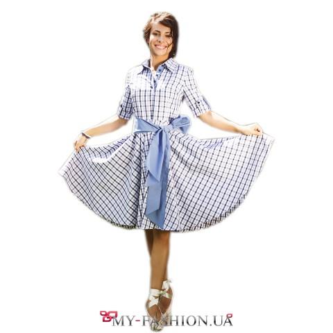 Хлопковое летнее платье в синюю клеточку