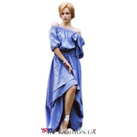 Длинное фиолетовое платье с асимметричным подолом