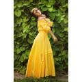 Жёлтое дизайнерское длинное платье