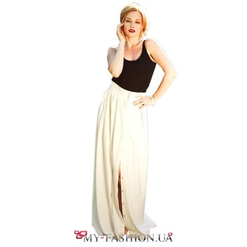 Длинная хлопковая юбка на пуговицах молочного цвета