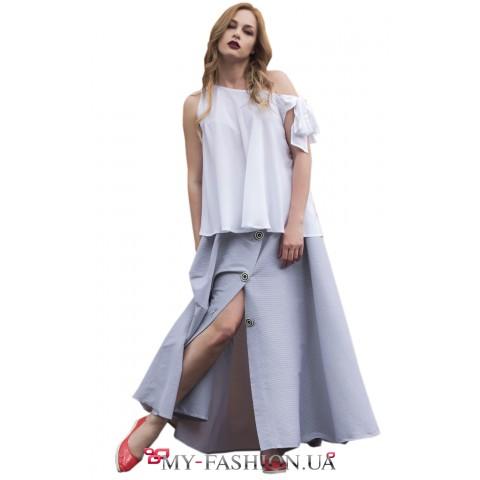 Дизайнерская юбка оригинального кроя с пуговицами