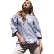 Женская рубашка свободного силуэта с воланами