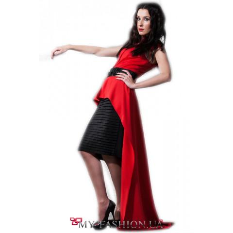 Коктейльное асимметричное платье с воланами