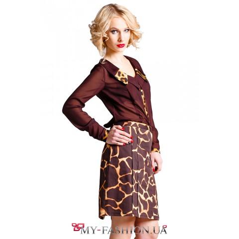 Коричневая блуза с леопардовыми вставками