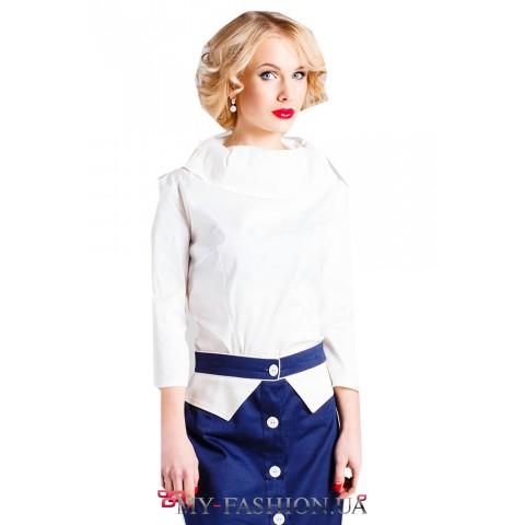 Дизайнерская белая блуза оригинального кроя