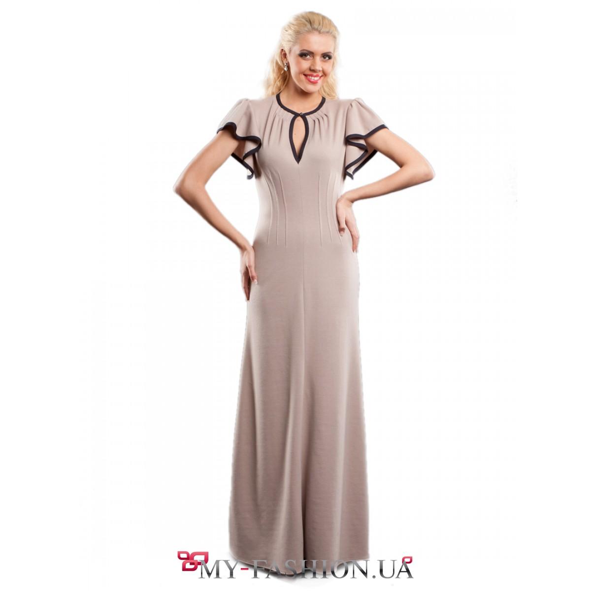 Вечернее платье с воланами на рукавах
