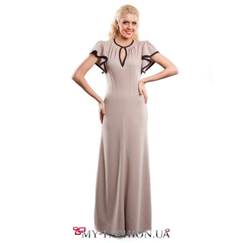 Элегантное вечернее платье с рукавами- воланами