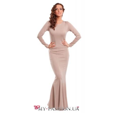 Платье в пол с юбкой годе элегантное трикотажное платье