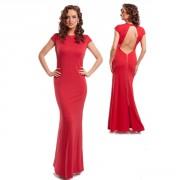 Красное вечернее платье в пол с открытой спиной