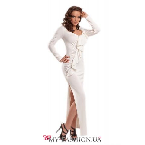 Белое выпускное платье облегающий силуэт