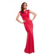 Красное выпускное платье из плотного хлопкового трикотажа