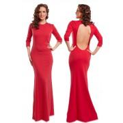 Красное трикотажное платье с расклешенной юбкой