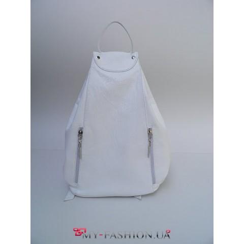 Рюкзак белый декорирован боковыми карманами