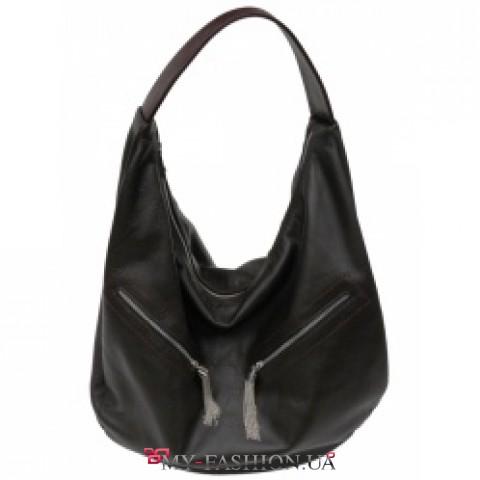 Вместительная сумка-hobo кожаная