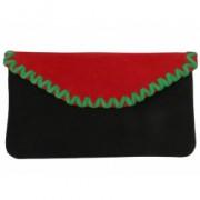 Комбинированный красно-чёрный замшевый клатч