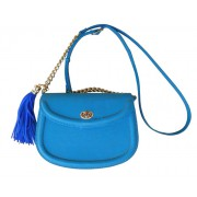 Голубая сумка из натуральной кожи