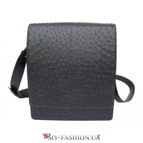Функциональная сумка-планшет из кожи страуса