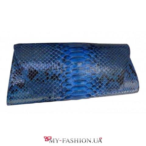 Синий клатч из натуральной кожи питона