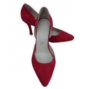 Красные замшевые туфли-лодочки на каблуке
