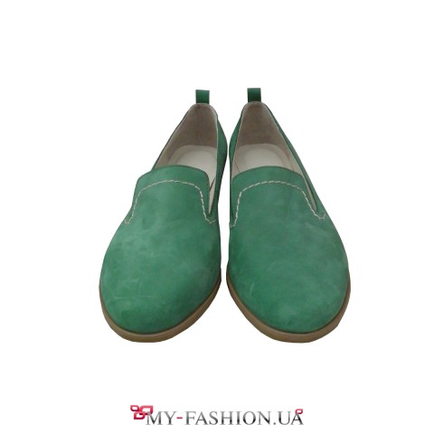 Очень удобные зелёные женские лоферы