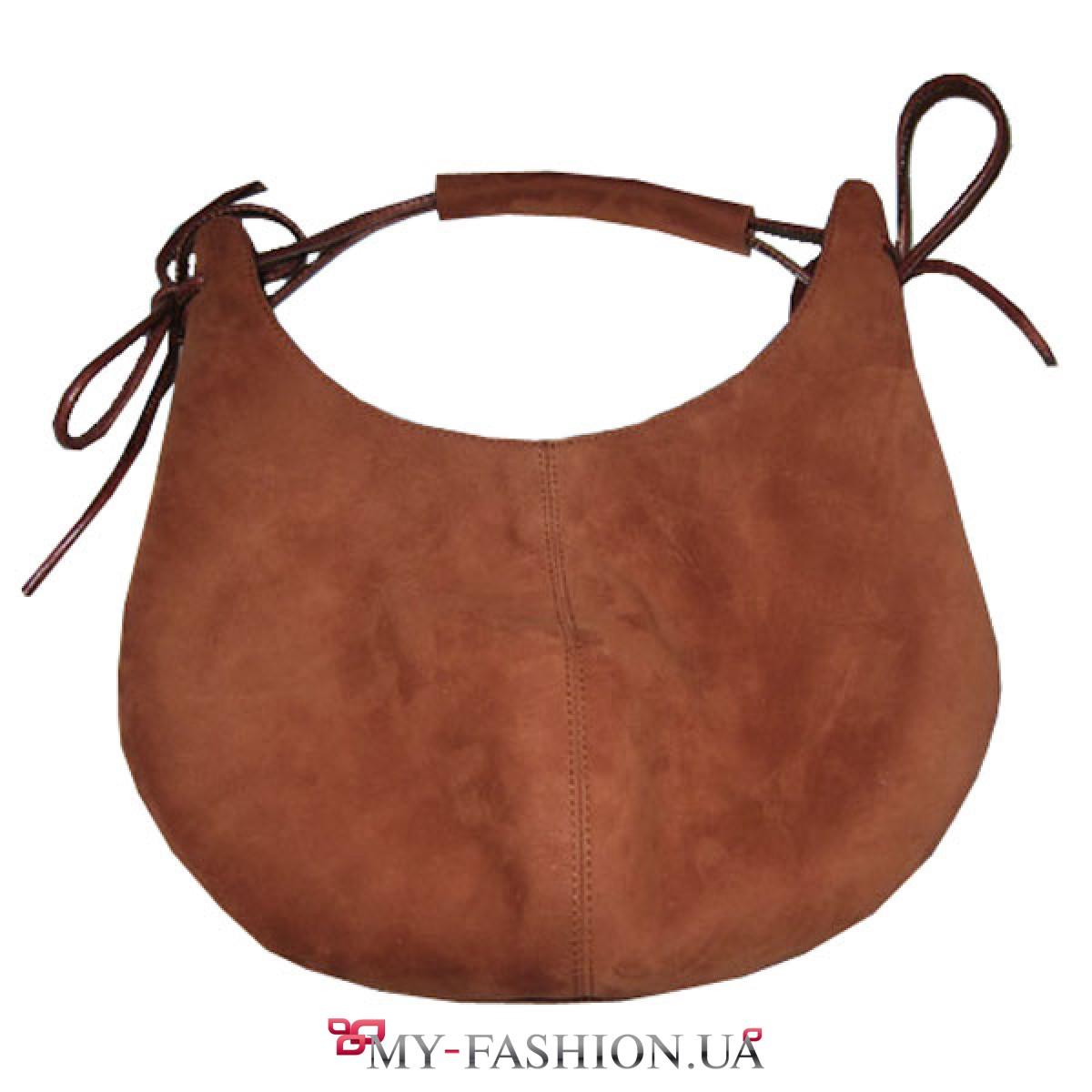 86797f606586 Коричневая сумка-мешок из натуральной замши