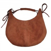 Коричневая сумка-мешок из натуральной замши
