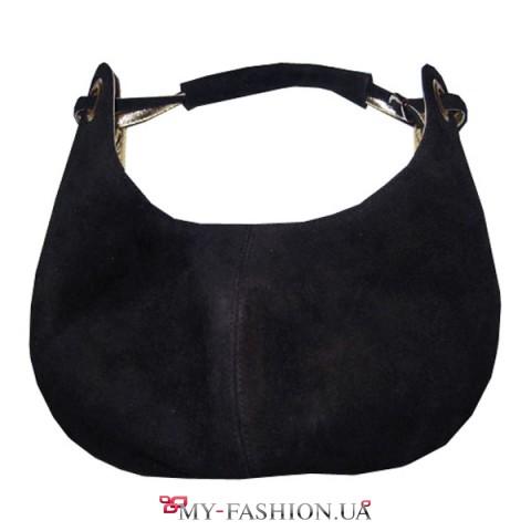 Чёрная сумка-мешок из натуральной замши